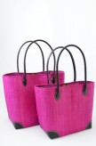 Korbtasche Pink als Set